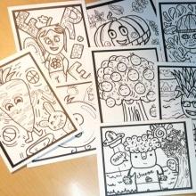 Lot #1- 8 cartons à colorier: Thème Fruits et Légumes