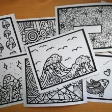 Lot # 2- 8 cartons à colorier thème méli-mélo